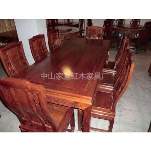 供应红木餐台餐桌 刺猬紫檀万字餐台1.8米9件套 1.4米7件套