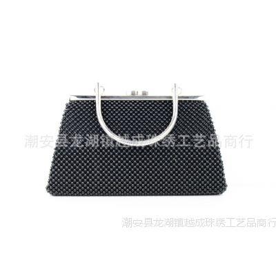潮州越成珠绣 热销A1303手工串珠黑色珠绣包 简约手提包