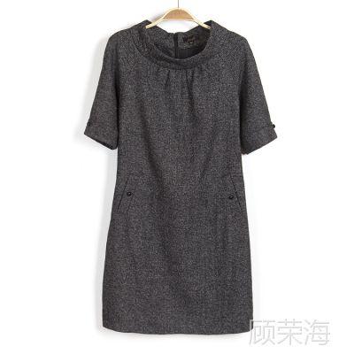 2014春装新款韩版女装百搭圆领短袖修身连衣裙子 背心裙外套