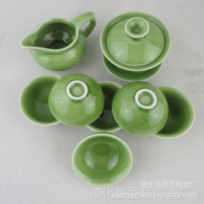 供应陶瓷 8头裂纹釉陶瓷功夫茶具套装 景德镇陶瓷茶具套装