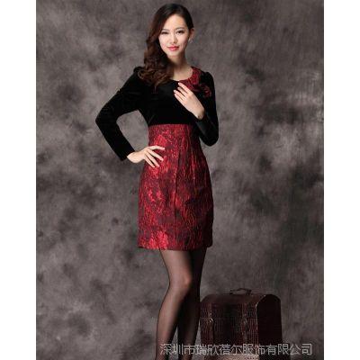2014大码秋冬女装修身金丝绒长袖红色礼服裙连衣裙
