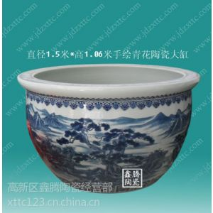 供应摆件礼品陶瓷大缸,直径1.5米青花陶瓷大缸,景德镇陶瓷大缸生产商