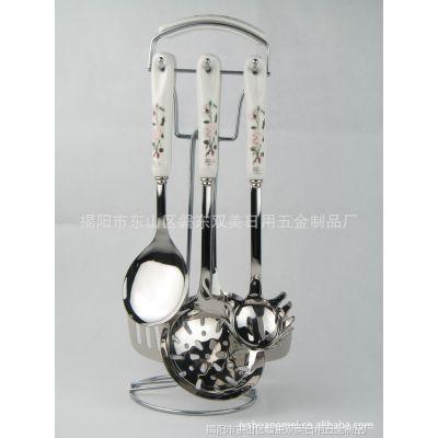 陶瓷柄不锈钢厨具 精美陶瓷柄不锈钢
