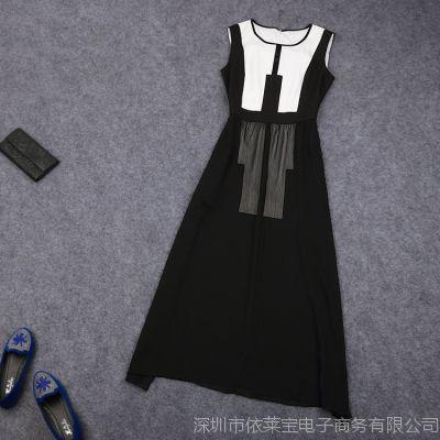 ELADYBABY新款品牌连衣裙欧美大牌时尚性感修身真丝连衣裙长裙子