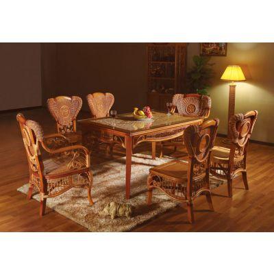 家用本色风情藤芯制作的藤餐桌藤椅