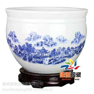供应青花瓷大缸价格 瓷器大鱼缸 定做青花手绘大缸