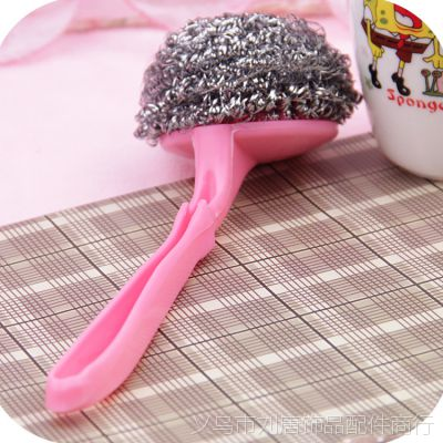 锅刷 塑料长弯柄锅刷 地摊好货源 两元日用百货 带手柄钢丝刷