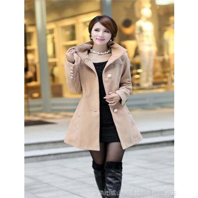 秋装外套女装新款欧美收腰毛呢外套修身呢大衣腰带大衣Q8-1204