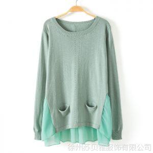 供应2013春秋日系韩版下摆蕾丝雪纺拼接打底衫中长宽松款套头毛衣外套