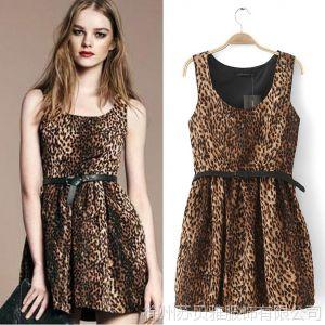 供应2013夏秋季新款欧美女装修身显瘦短裙性感碎花雪纺吊带豹纹连衣裙