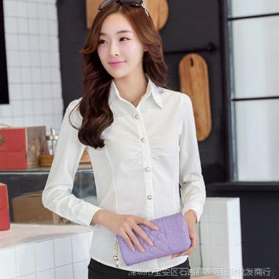芙沫雅 2014秋装新款OL通勤百搭时尚修身显瘦翻领长袖白色衬衫女