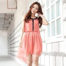 供应杭派女装 2012夏装新款 纯色无袖雪纺燕尾连衣裙2QHXSLYQ05