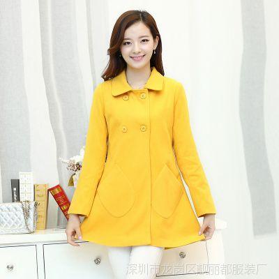 2014秋季新款韩版宽松大码中长翻领呢子大衣毛呢风衣女中长款外套