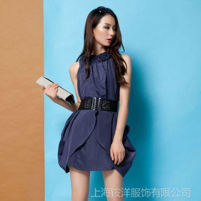 原创品牌夏装新款 欧洲站女装欧美大牌拼接真丝连衣裙 一件代发
