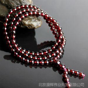 供应天然红石榴石手链 多层水晶手串 母亲节礼物 108颗佛珠