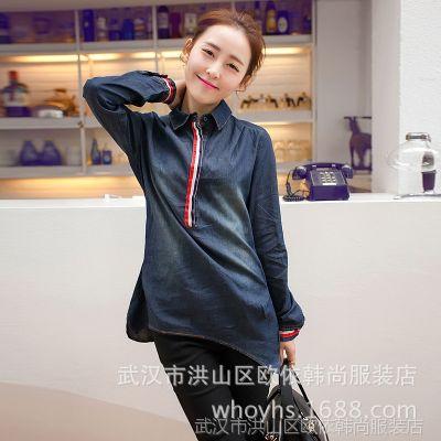 供应韩国代购 秋装女衬衫韩版简约小香风设计感气质牛仔长袖上衣6620