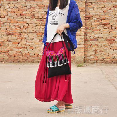 民族风 时尚女士单肩十字绣绣花包 斜挎包包包批发