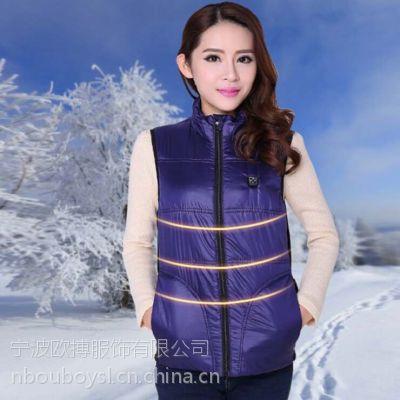 冬装新款电加热女款马甲碳纤维远红发热外套女 韩版修身女式马甲.依靠蓄电池让发热片工作产生热量
