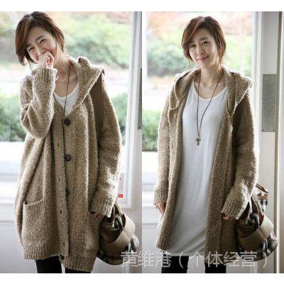 女秋冬女装韩版大码毛衣外套大款长款宽松毛绒针织开衫