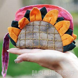云南特色扎染原创手工布艺零钱包女向日葵太阳花布包  1004943
