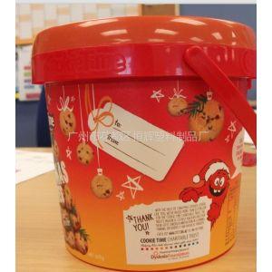供应糖果包装桶 曲奇饼干桶 巧克力豆桶 模内贴印刷 全新产品推广