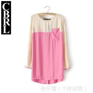 供应CBRL韩版连衣裙 后排扣圆领拼接撞色长袖雪纺衫 女打底衫Y