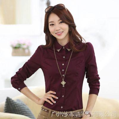 2014新款韩版职业ol气质翻领显瘦上衣衬衫 修身长袖女士衬衣