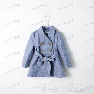 秋季新款 韩版童装 双排扣 女童风衣 儿童外套  外贸童装批发