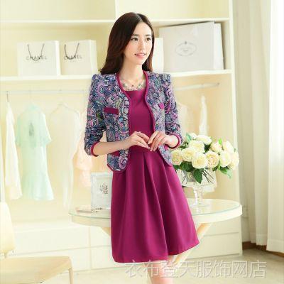 2014年秋冬季女装新款 时尚韩版套装长袖连衣裙