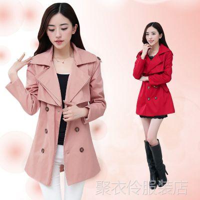 2014秋冬新款女装外套  韩版修身显瘦中长款女式风衣