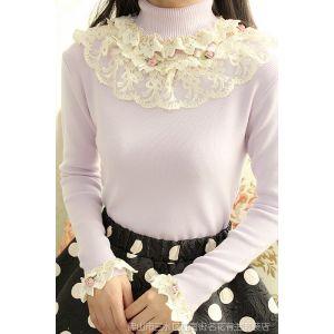 供应冬女木耳花边立体花朵蕾丝边甜美淑女森女气质修身针织打底衫Y415