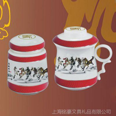 厂家批发马到成功茶具 茶罐陶瓷 陶瓷茶叶罐 茶具礼品公司