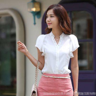 2014韩版荷叶袖雪纺衫 女式雪纺衫 短袖女式衬衫  韩版女装批发