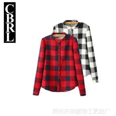 Y048 韩版秋冬装学院风修身显瘦经典格纹立领加厚长袖衬衫格子衫