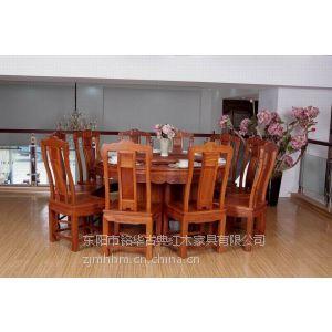 圆桌缅甸花梨木圆桌餐厅圆桌红木家具汉宫圆桌