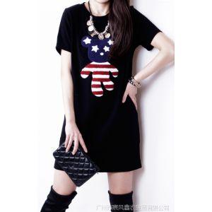 供应2014新款春装熊纯棉长款包臀打底衫t恤女短袖韩版修身潮