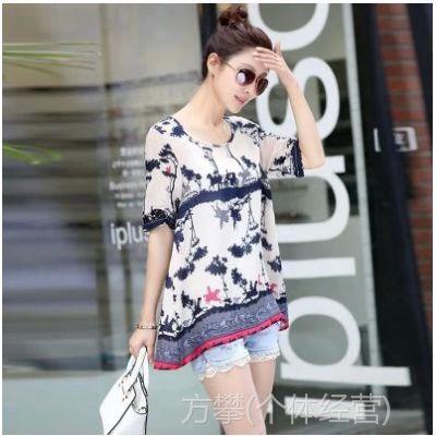 2014夏装新款韩版印花宽松大码女式短袖雪纺衫女T恤雪纺上衣 批发