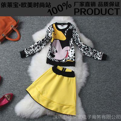 2014欧美女装米老鼠印花卫衣上装+黄色松紧腰大摆下裙女式套装