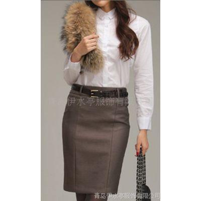 青岛职业女套装加工定做 女西服裙装套装 职场品牌工作服