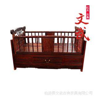 红木家具/交趾黄檀摇篮/老挝大红酸枝婴儿床/实木床/中式仿古典