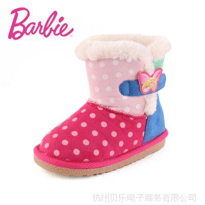芭比童鞋2014冬季新款女童雪地靴 中筒波点儿童二棉鞋保暖靴子