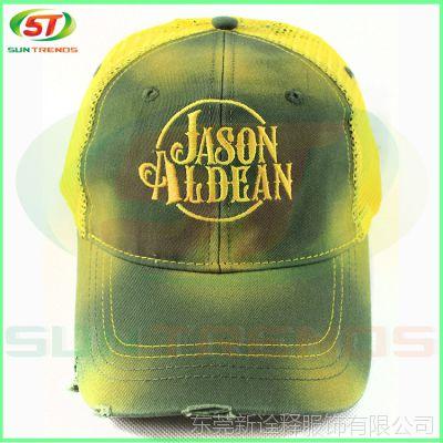 广东制帽厂来图订做15年新款全棉洗水棒球帽绣花网帽HL11-536