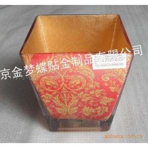 南京金梦蝶供应高档花纸贴/金银玻璃烛台