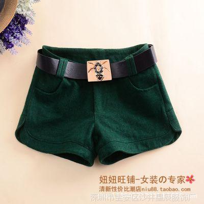 2014冬季新款简约纯色女装 女士短裤 中腰休闲短裤(送腰带)