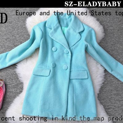 1118大促欧美秋冬新款女装羊毛V领长袖双排扣修身外套大衣女风衣