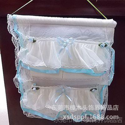 厂家热销 挂袋 蕾丝挂袋 网丝绸布艺四口高档收纳挂袋 小额批发