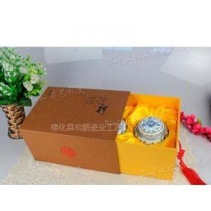 厂家供应 青花瓷茶叶罐 礼盒装套装 中码鼓形罐缠枝莲