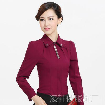 修身长袖衬衫女秋装新款韩版大码简约职业装女衬衣工作服