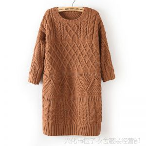 供应10-2013-YP037秋冬新款欧美风圆领中袖长款女式毛衣连衣裙