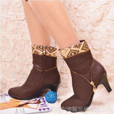 2014冬新款中筒靴粗跟马丁靴真皮内里女靴中跟保暖女靴冬靴 批发